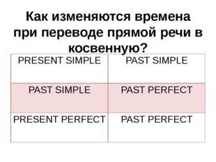 Как изменяются времена при переводе прямой речи в косвенную? PRESENT SIMPLE P
