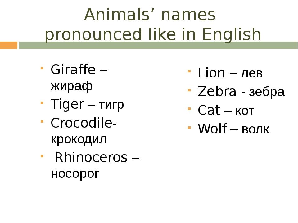 Animals' names pronounced like in English Giraffe – жираф Tiger – тигр Crocod...