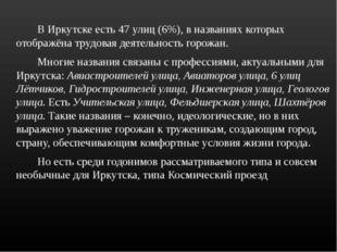 В Иркутске есть 47 улиц (6%), в названиях которых отображёна трудовая деяте