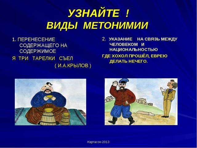Каргасок-2013 УЗНАЙТЕ ! ВИДЫ МЕТОНИМИИ 1. ПЕРЕНЕСЕНИЕ СОДЕРЖАЩЕГО НА СОДЕРЖИМ...