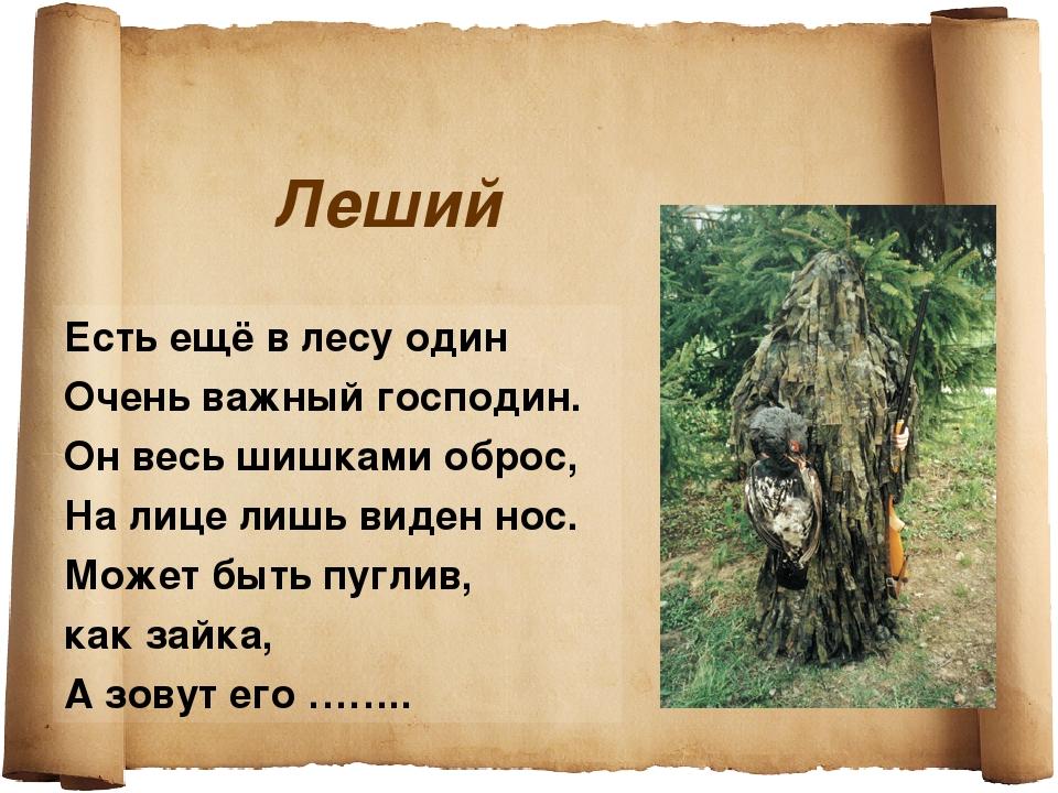 Леший Есть ещё в лесу один Очень важный господин. Он весь шишками оброс, На л...