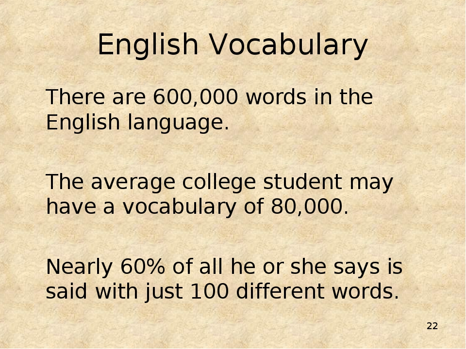 * English Vocabulary There are 600,000 words in the English language. The ave...