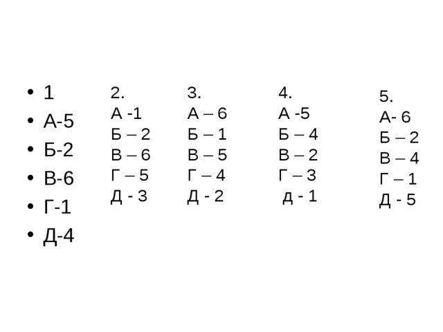 1 А-5 Б-2 В-6 Г-1 Д-4 2. А -1 Б – 2 В – 6 Г – 5 Д - 3 3. А – 6 Б – 1 В – 5 Г...