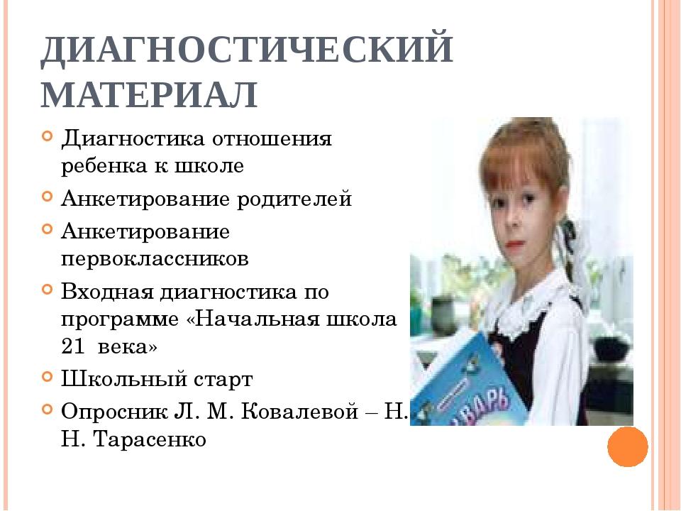 ДИАГНОСТИЧЕСКИЙ МАТЕРИАЛ Диагностика отношения ребенка к школе Анкетирование...