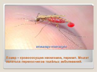 Комар – кровососущее насекомое, паразит. Может являться переносчиком тяжёлых