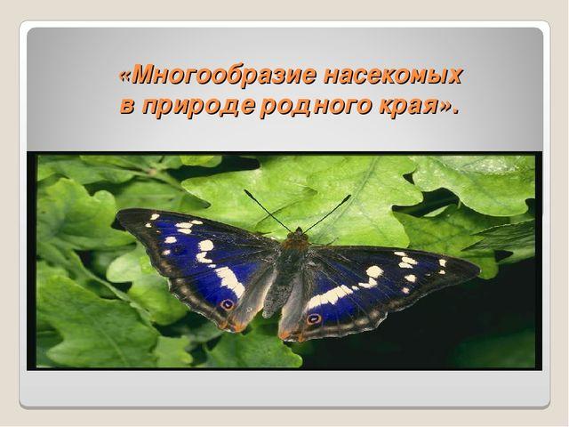 «Многообразие насекомых в природе родного края».