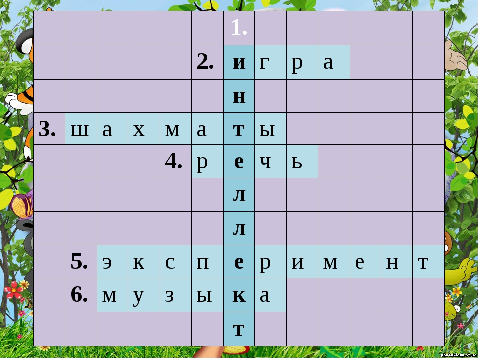 1. 2. и г р а н 3. ш а х м а т ы 4. р е ч ь л л 5. э к с п е р и м е н т 6....