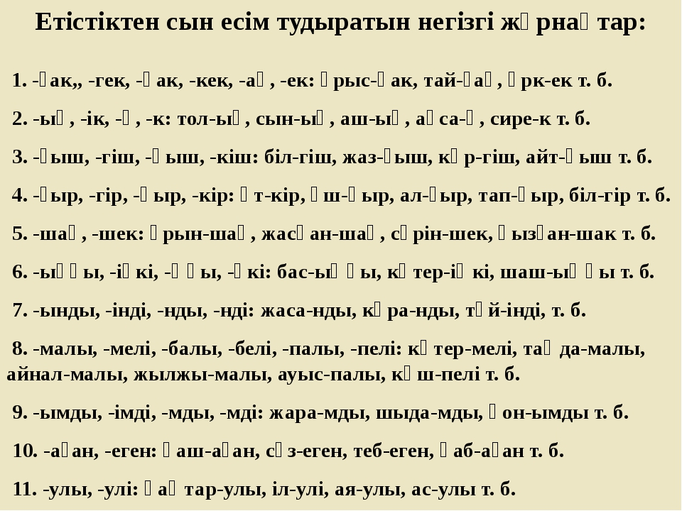 Етістіктен сын есім тудыратын негізгі жұрнақтар: 1. -ғак,, -гек, -қак, -кек,...
