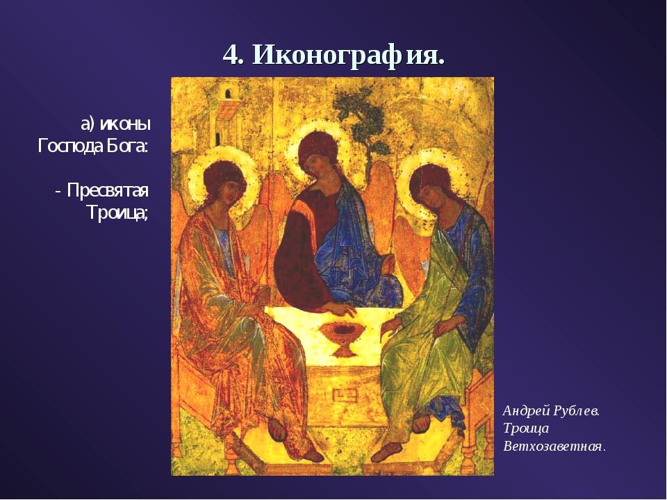 4. Иконография. а) иконы Господа Бога: - Пресвятая Троица; Андрей Рублев. Тро...