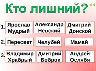 1. Ярослав Мудрый Александр Невский Дмитрий Донской 2. Пересвет Челубей. Мам