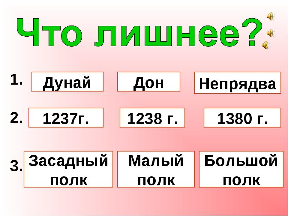 1. Дунай Дон Непрядва 2. 1237г. 1238 г. 1380 г. 3. Засадный полк Большой пол...