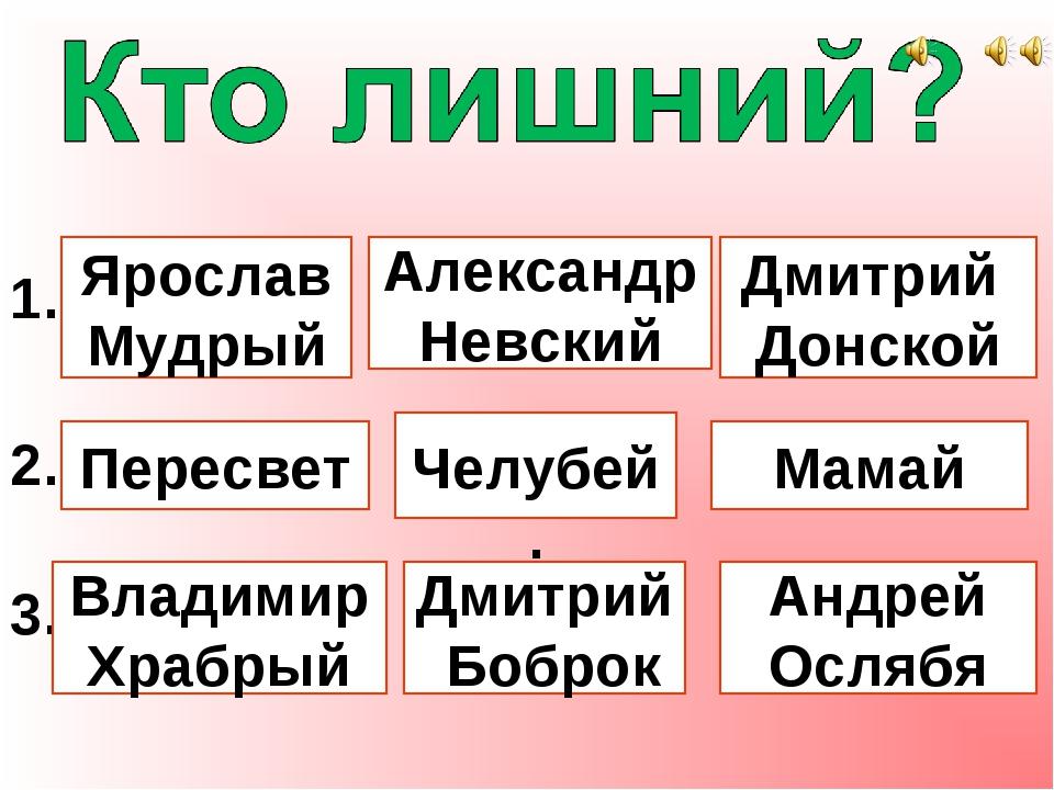1. Ярослав Мудрый Александр Невский Дмитрий Донской 2. Пересвет Челубей. Мам...