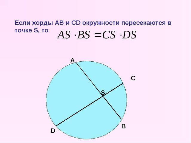 Если хорды AB и CD окружности пересекаются в точке S, то S C D А B