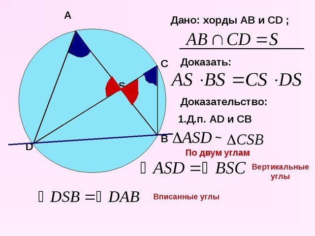 A D B C S Дано: хорды AB и CD ; Доказать: Доказательство: 1.Д.п. AD и CB ~ По...
