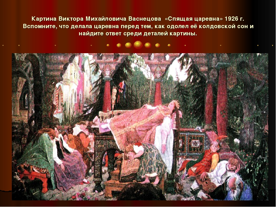 Картина Виктора Михайловича Васнецова «Спящая царевна» 1926 г. Вспомните, что...