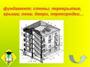 фундамент; стены; перекрытие, крыша; окна; двери, перегородки…