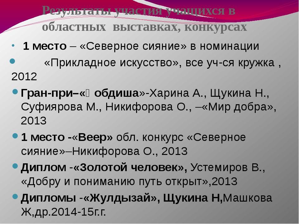 Результаты участия учащихся в областных выставках, конкурсах 1 место – «Север...