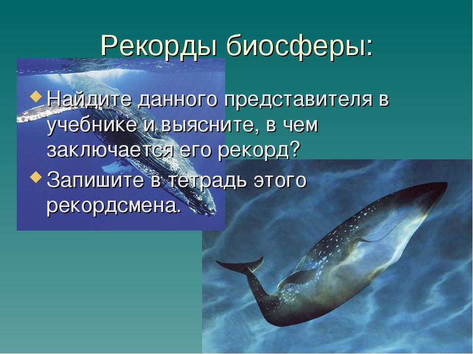 Рекорды биосферы: Найдите данного представителя в учебнике и выясните, в чем...