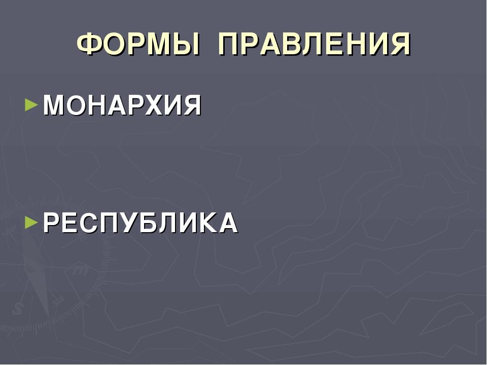 ФОРМЫ ПРАВЛЕНИЯ МОНАРХИЯ РЕСПУБЛИКА