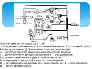 Рабочий схема а\м VW Пассат 1,6 л — 1F: 1 — подкачивающий бензонасос, 2 — осн