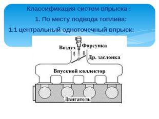 Классификация систем впрыска : 1. По месту подвода топлива: 1.1 центральный о