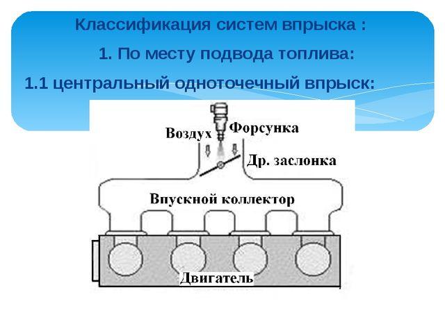 Классификация систем впрыска : 1. По месту подвода топлива: 1.1 центральный о...