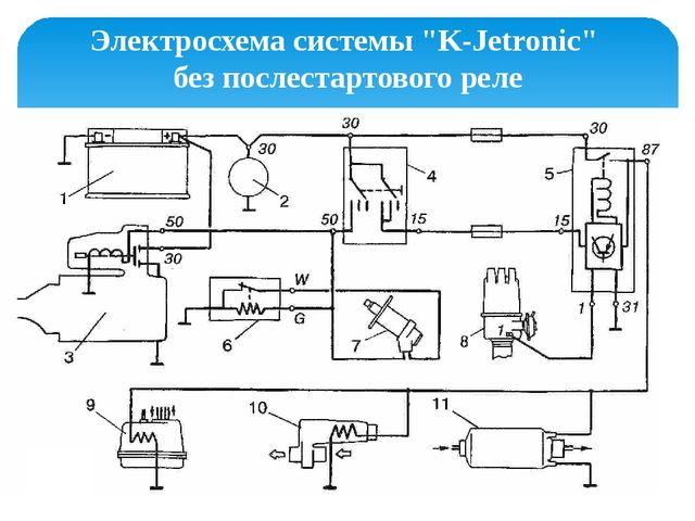 """Электросхема системы """"K-Jetronic"""" без послестартового реле"""