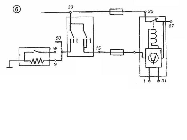 """Электрическая схема """"K-Jetronic"""" б — рабочее состояние, двигатель прогрет"""