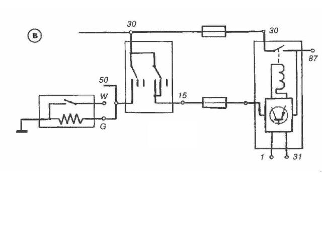 """Электрическая схема """"K-Jetronic"""" в — зажигание включено, коленчатый вал двига..."""