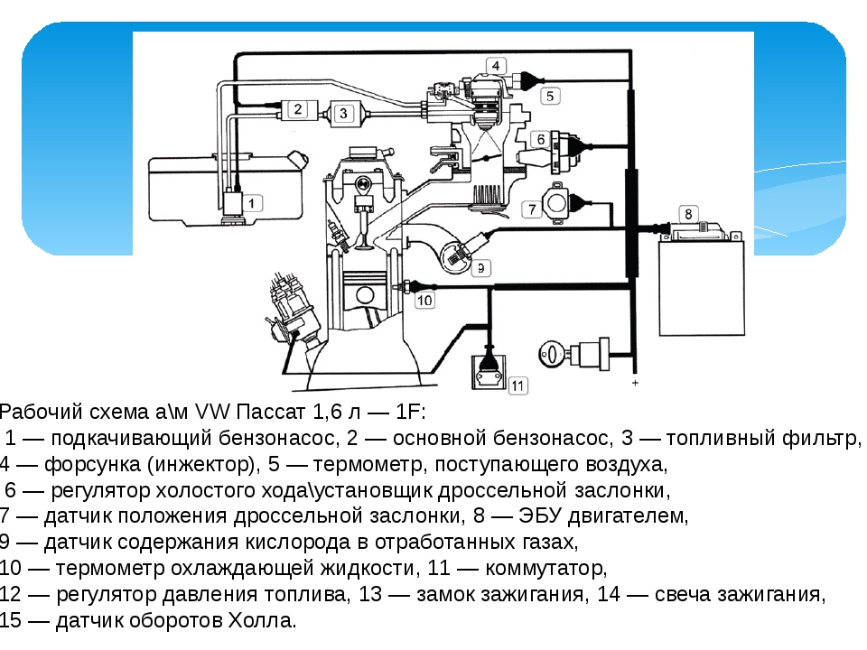 Рабочий схема а\м VW Пассат 1,6 л — 1F: 1 — подкачивающий бензонасос, 2 — осн...