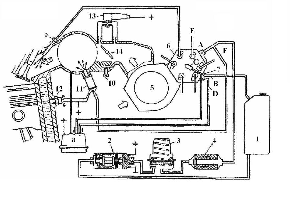 Схема системы впрыска топлива «K-Jetronic»