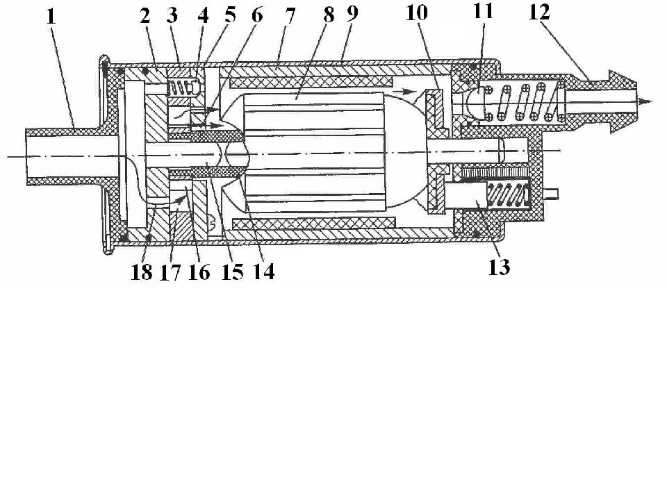Топливный насос:1, 12 - штуцеры; 2 - основание насо-са; 3 - статор; 4, 11 – п...