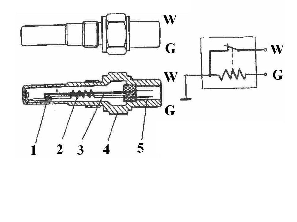 Термореле: 1-контакты, 2-электрическая спираль, 3-биметаллическая пластина, 4...