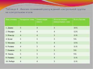 Таблица 4 - Анализ сочинений-рассуждений контрольной группы на контрольном эт