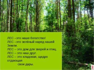 ЛЕС –это наше богатство! ЛЕС –это зелёный наряд нашей Земли. ЛЕС – это дом д