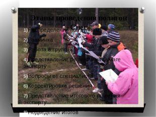 Этапы проведения полигон «Снег» Распределение по группам Разминка Работа в гр