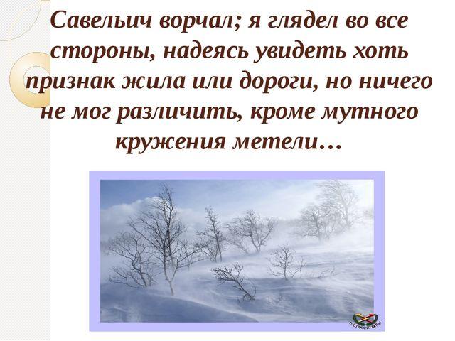 Савельич ворчал; я глядел во все стороны, надеясь увидеть хоть признак жила и...