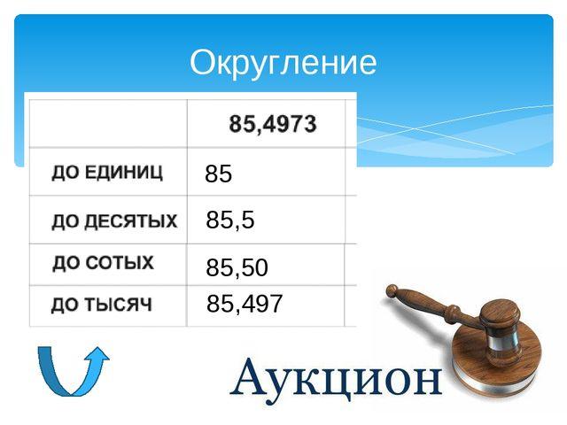 Округление 85 85,5 85,50 85,497