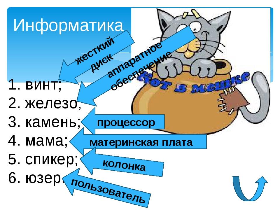 1. винт; 2. железо; 3. камень; 4. мама; 5. спикер; 6. юзер. Информатика жестк...