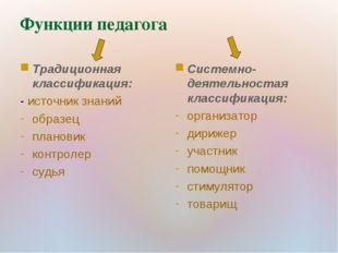 Функции педагога Традиционная классификация: - источник знаний образец планов