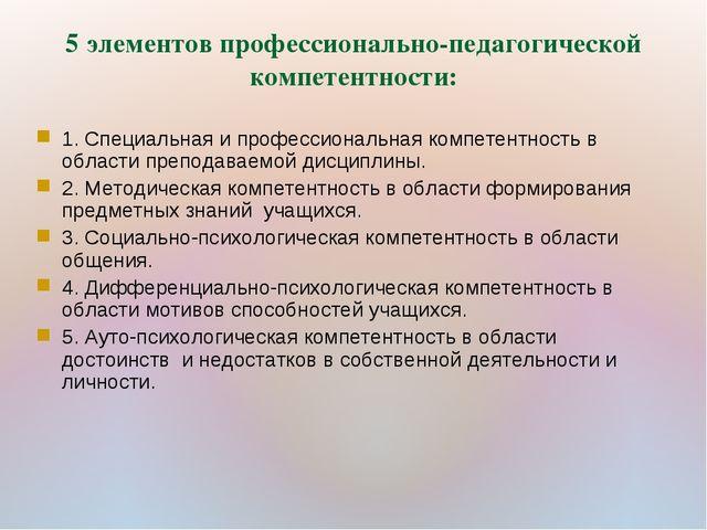 5 элементов профессионально-педагогической компетентности: 1. Специальная и п...