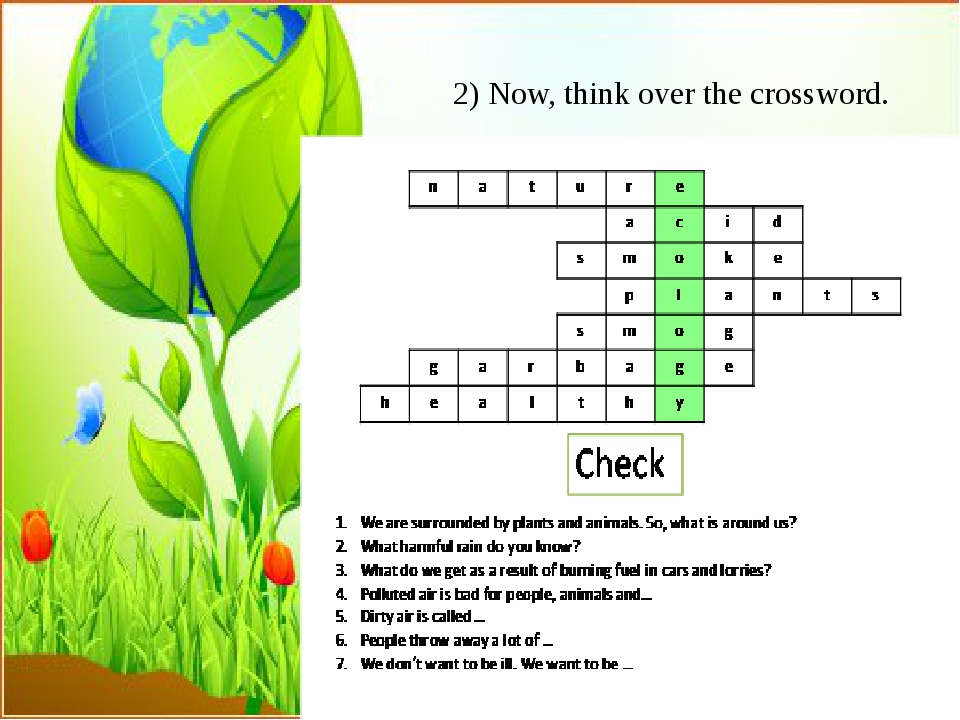 2) Now, think over the crossword.