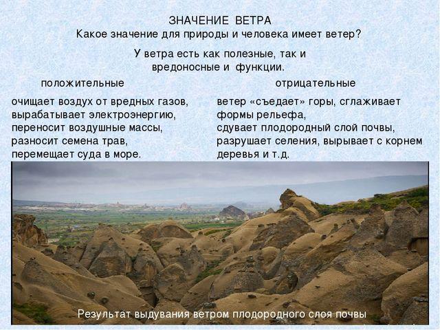 ЗНАЧЕНИЕ ВЕТРА Какое значение для природы и человека имеет ветер? У ветра ест...
