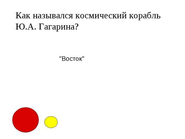 """Как назывался космический корабль Ю.А. Гагарина? """"Восток"""""""