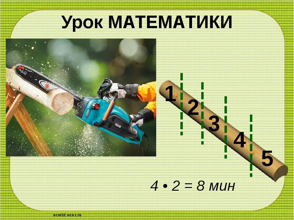 Урок МАТЕМАТИКИ 4 • 2 = 8 мин 1 2 3 4 5 scul32.ucoz.ru
