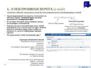 1. ЭЛЕКТРОННАЯ ПОЧТА (e-mail) система обмена письмами между пользователями ко