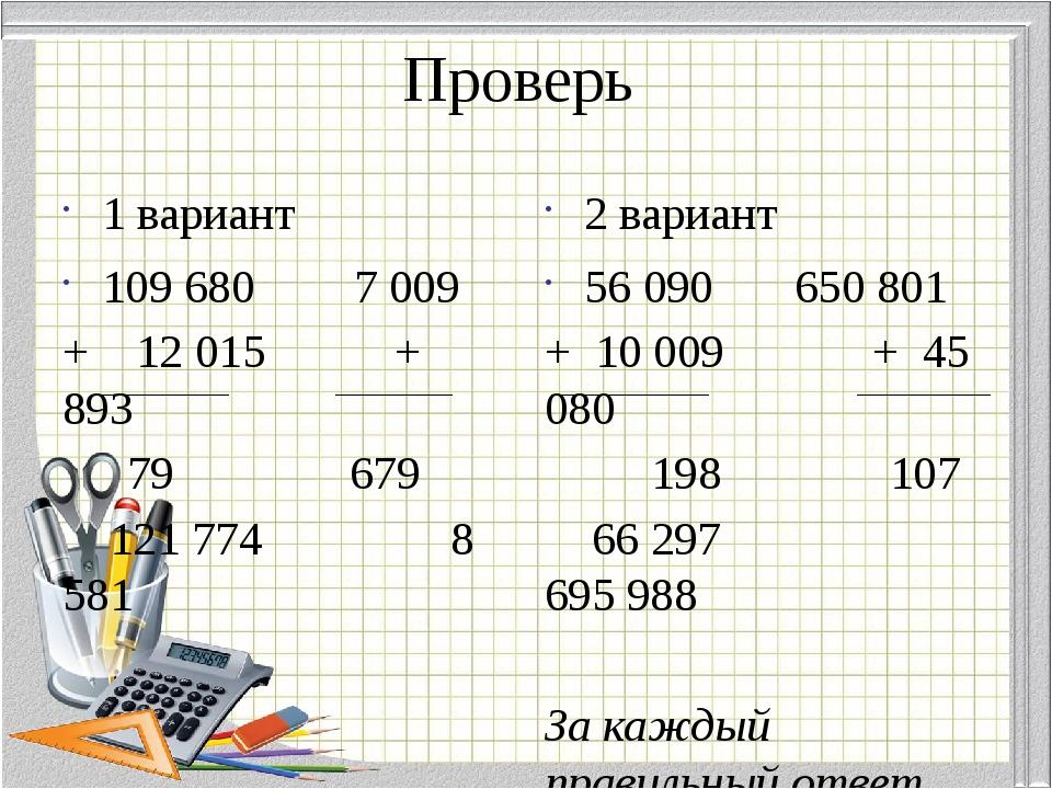 Проверь 1 вариант 109 680 7 009 + 12 015 + 893  79 679 121 774 8 581 2 вар...
