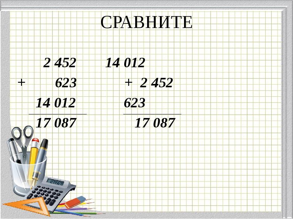 СРАВНИТЕ 2 45214 012 + 623 + 2 452 14 012  623 17 087 17 087