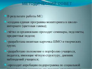 МЕТОДИЧЕСКИЙ СОВЕТ В результате работы МС: -создана единая программа монитори