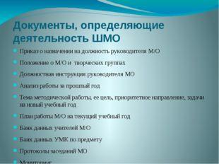 Документы, определяющие деятельность ШМО Приказ о назначении на должность рук